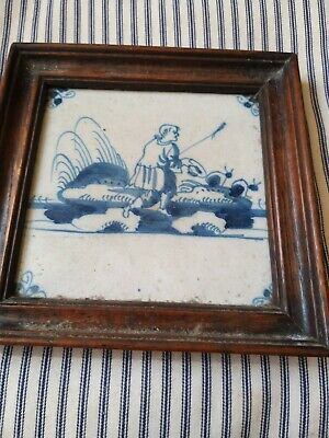A Super 18th Century Blue And White Delft Tile In Later Frame • 88£