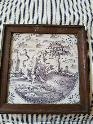 A Super 18th Century Manganese White  Delft Tile In Later Frame • 120£