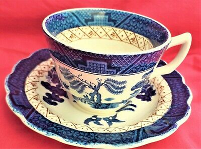 Booths Cup And Saucer. Real Old Willow Brown Trellis Pattern. Free Post • 8£