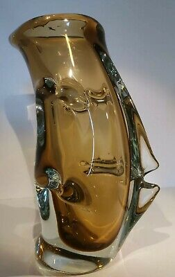 XL Huge Czech Or Murano Gold Glass Vase 4.85kg Crimped, Good Condition. • 0.99£