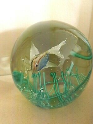 Murano Large Doorstop Glass Paperweight With A Fish Swimming Above Sea Grass • 15£