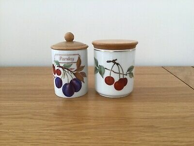 2 Royal Worcester Evesham Small Storage Jars With Wooden Lids • 5£