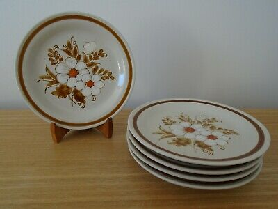 5 Mountain Wood Collection, Dried Flowers 16cm Tea Or Side Plates - VGC • 6£
