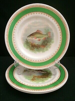 Vintage Wood & Sons Earthenware Supper / Salad Plates. Fishing Theme. 3x Pcs (A) • 3£