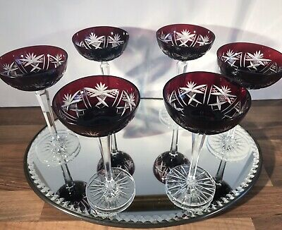 Set 6 Vintage Ruby Crystal Cut To Clear Champagne Saucers • 75£