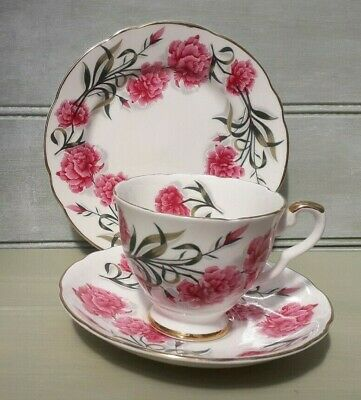 Vintage Royal Stafford China Trio, Cup, Saucer And Plate Deep Pink. • 8.99£