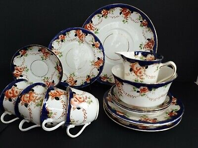 6x Vintage Royal Stafford China Hand Painted Gold Guilded Tea Set • 95£