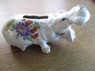 Szeiler Yawning Hippopotamus Hand-Painted Money Box With Secure Bung. 1960s • 6.50£