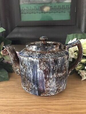 Vintage Brown Marble Glazed Large Tea Pot Made In England # Chipped# • 4.99£
