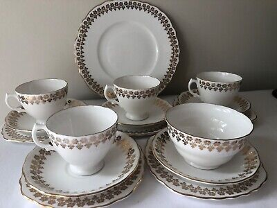 Stunning Royal Vale Gold And White Bone China Tea Set • 23£