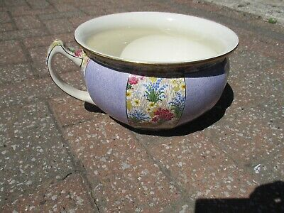 A 1930s Grimwades Royal Winton Ivory Full Size Chamber Pot Marguerite Pattern • 35£