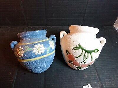 Two Vintage Studio Pottery Gravelware Wall Pockets Flower Hand Painted Signed • 12£