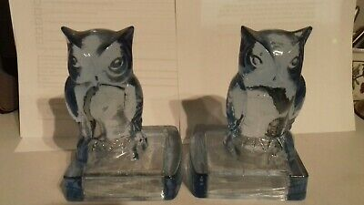 Scarce Bagley & Co. Art Deco Blue Glass Owl Book Ends 1930's, Perfect • 160£