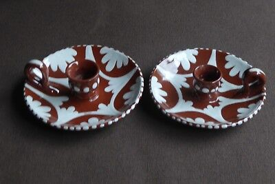 Matching Pair Of Unusual (Devon?) Slipware Candle Holders In Excellent Condition • 35£