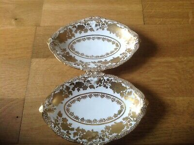 Hammersley & Co Longton 2 Small Oval Dishes White With Gold Flloral Decoration. • 12.99£
