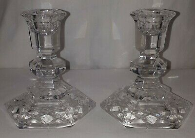 Vintage Galway Irish Cut Crystal Candlesticks Candle Holders Matching Pair • 30£
