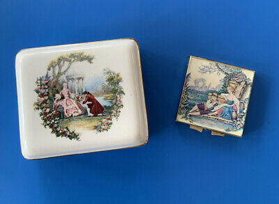 Vintage Floral Romantic Couple Lord Nelson Pottery Trinket Box & Compact Mirror • 6.50£