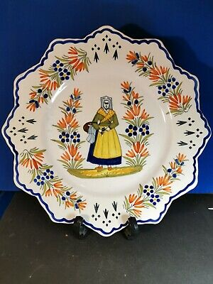 Henriot Quimper Faience Plate Hand Painted #1 • 34.99£