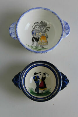 Pair French Bowls Quimper St Malo  • 18£