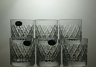 Tutbury Crystal Cut Glass 10 Oz Whisky Tumblers/rummers Set Of 6 - 3 1/2  Tall • 89.99£