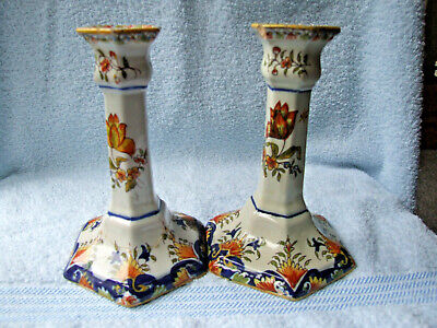 Pair Of Antique Rouen/Faience Tin Glazed Pottery Candlesticks, One Repaired • 29.99£