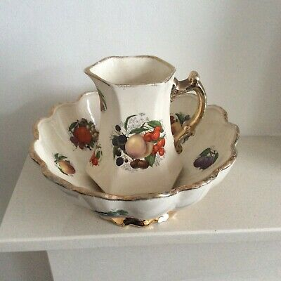 Vintage KLM Staffordshire Pitcher And Bowl In Cream With Fruits Detail • 18.95£