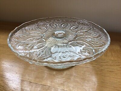 Vintage Clear Pressed Glass Cake Stand 8.25 Inch • 4£