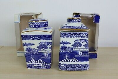 Ringtons Willow Pattern Tea Caddy By Wade Ceramic 1991 & 1993 - 1920's Pattern • 10.50£