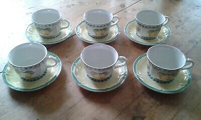 Villeroy & Boch French Garden Orange 6 X Tea Cups & Saucers • 30£