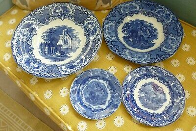 Vintage Collection George Jones Abbey Blue & White Pottery X 4 Pieces • 12.99£