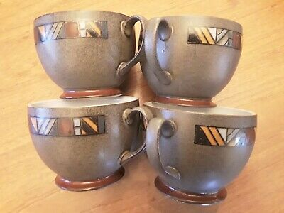 4x LARGE 8cm CUPS MUGS Denby Marrakesh Coffee Cappuccino Hot Chocolate 1st Class • 20£