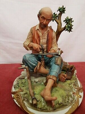 Lovely Large Vintage Capodimonte Figurine Country Man Working Metal With Hammer • 10£