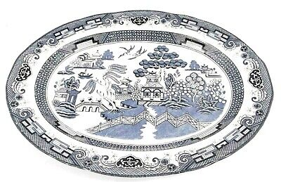 MEAT SERVING PLATE Large Vintage Willow Patter Blue And White Meat Plate • 2.99£