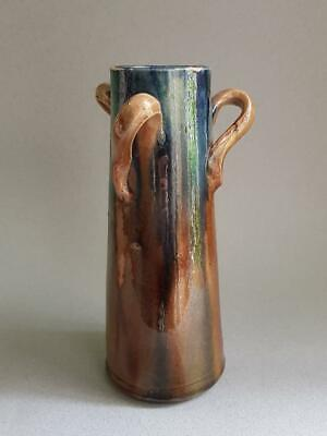 Stunning Antique Arts And Crafts Twisted Tri-handled Multi Coloured Vase • 19.99£