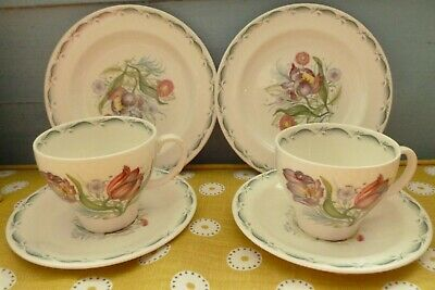 Vintage Susie Cooper Pottery Parrot Tulip Design Trios 2 Cups Saucers & Plates • 64£
