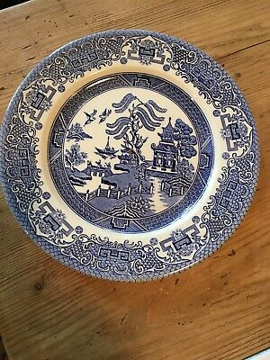 2 X Vintage Willow Pattern Plates For 2 Tier Cake Stand Blue White • 5£