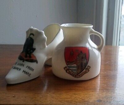 2 Crested Ware Items  1 Lucky Black Cat 1 Goss Jug • 15£