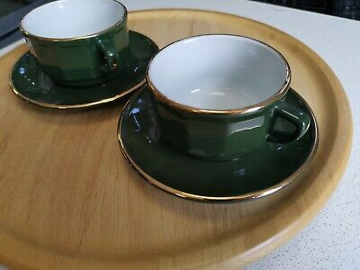 Aplico Green Gold French Bistro 2 Coffee Cups And Saucers   • 15£