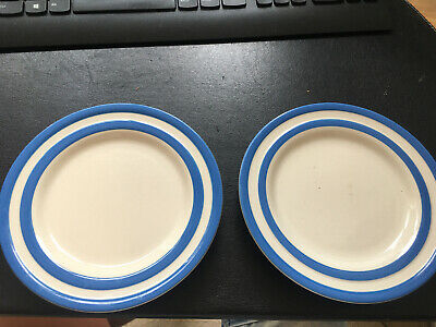 T G Green Stamp  Cornishware Blue & White, 2 X Small 18cm Side Plates • 14£