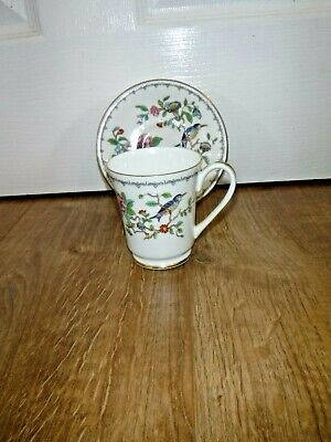 AYNSLEY Cup & Saucer ~ PEMBROKE ~ Floral & Bird ~ 1st ~ Gold Trim ~ Excellent • 14.99£