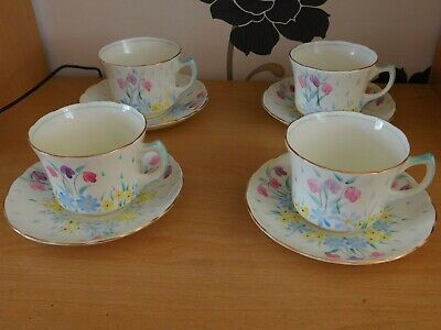 Set Of 4 Vintage Foley Bone China Art Deco Hand Painted Cups & Saucers • 9.99£