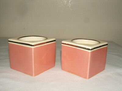 Clarice Cliff Bizarre Pink & Silver Cubed Candlesticks Fabulous & V Rare • 29.99£