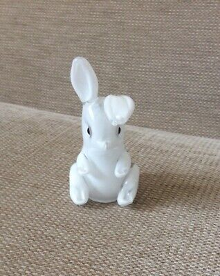Langham Glass Sitting Up 4   White Rabbit Paperweight Rare !!! With Label  • 34.99£
