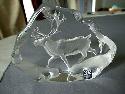 Mats Jonasson Full Lead Crystal Stag Paperweight 3597 Signed • 12.99£