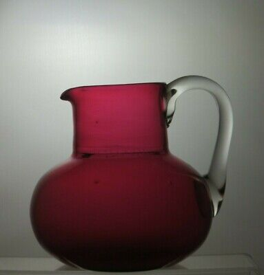 Vintage Cranberry/ruby Red Crystal Jug With Handle • 34.99£