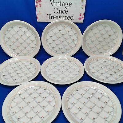 8 X Biltons Ironstone Side Plates (7.25 ) * Tulips & Checks * Vintage 1970s GC • 16.25£
