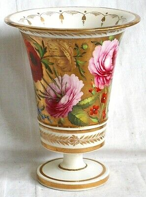 C19th Coalport Hand Painted Trumpet Vase Decorated With Flowers • 20£