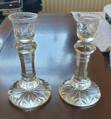 Pair Of  Crystal Candle Stick Holders. • 20£