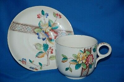 Large Unmarked Antique Pottery Floral Decorated Duo Cup And Saucer • 4.99£