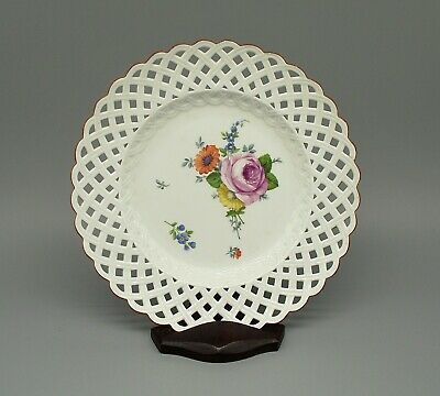 Antique Meissen Marcolini Period Reticulated Hand Painted Plate (1774-1814)  • 195£